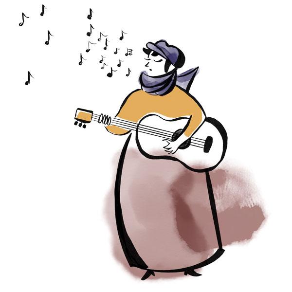 Illustration av kvinna som sjunger och spelar gitarr