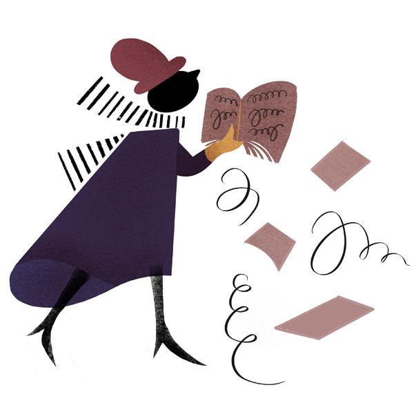 Illustration av en person som läser ett manus